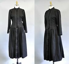 Geiger Black Wool Skirt Suits Floral Brocade Victorian Style Size 36 EU 4 US