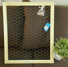 Chicken Wire Frame, Large Jewelry Organizer, Photo Bulletin Board Display Yellow