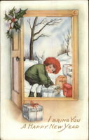 New Year - Cherub Winter Coat & Hat Delivers Gifts WHITNEY c1915 Postcard