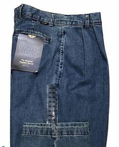 Dockers Original Pleated Denim Jeans 33 x 30 Tapered Leg Classic Fit Men New