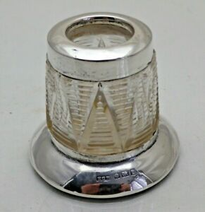 Antique Sterling Solid Silver & Cut Glass Toothpick or Match Holder  (1962/9/KNY