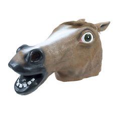 Farm Animal Horse Head Pony Vinyl Brown Comical Funny Farm Adult Mask Costume