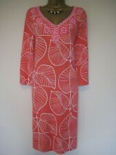 Boden coral and white leaves jewelled dress size 12L