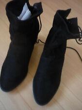 BHNEU Stiefel Damen Gr. 40 schwarz einfarbig knöchelhoch Textilschaft Stiefeltte