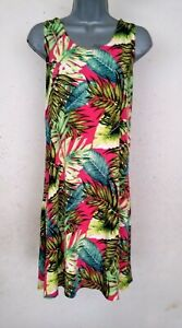 Pink Hawaii Floral Sheath Tank Short Dress Easy Care No Wrinkle  S M L XL