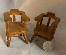 "2 Wood Dining Captain Arm Chairs Miniature Dollhouse Doll Accessory 2.75"" tall"