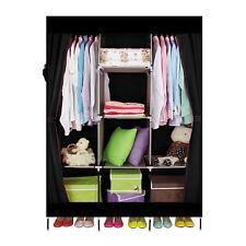 DIY Cloth Wardrobe Closet Clothes Storage Organizer Black With Shelve