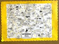 1960s COORS BEER vintage paper placemat WONDERFUL WYOMING map with illustrations