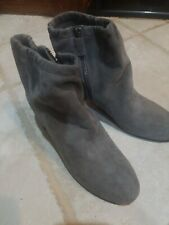 New Women Eileen Fisher Vero Cuoio Gray Suede Side Zip Round  Ankle Boot shoe 8M