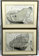 PAIR British NAUTICAL PAINTINGS-DRAWINGS John Stanton Ward LISTED ARTIST Signed