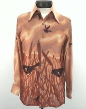 JCPENNEY Mens Casual Shirt VTG 70s Hippie Boho HuntinTapered Peach Brown Medium