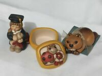 Lot 3 New Pottery Thun Italy Brand Graduated Beaver Ladybird Box Figurine