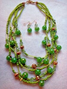 MULTI STRAND GREEN BUBBLES NECKLACE AND PIERCED EARRING SET