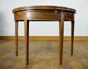 Antique inlaid mahogany demi lune folding top tea table / console table