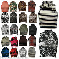 New Women's Mixed Print's Polo Turtle Neck Cropped Ladies Vest Top Tee Size 8-14