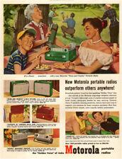 1952 vintage AD MOTOROLA Portable Radios , On a picnic, at the beach  113017