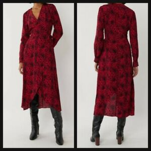 NEW Ex Warehouse Red Leopard Print Wrap Dress Summer Holiday Dress Size 6 - 14