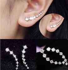 Women Fashion Rhinestone Silver Crystal Earrings Ear Hook Stud Jewelry Gift HS