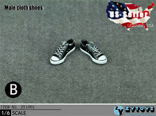 1/6 Men Shoes Converse Lace Up Sneakers BLACK For Hot Toys Phicen Male Figure