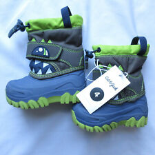 Cat & Jack Toddler Boys Bernardo Winter Boots Size 4 Green Blue Teeth Insulated