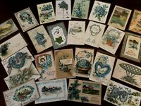 Lot of~25~FLOWERS~Blue~FORGET-ME-NOTS~vintage~greeting~Postcards-in Sleeves-b762