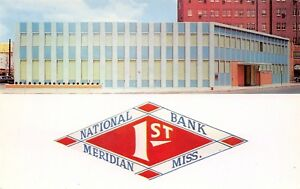Meridian Mississippi~First National Bank Close Up~Logo~1957 Postcard