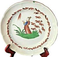 Assiette décorative ancienne Faïence LES ISLETTES Décor Chinois XIXè RARE ø23 cm