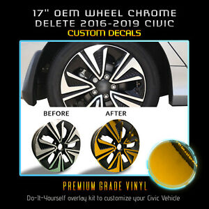 "For 2016-2019 Honda Civic EX 17"" Rim Wheel Vinyl Chrome Delete Kit Chrome Mirror"