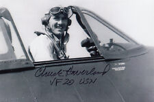 Commander Charles Haverland WWII Ace Pilot 6.5 Vic. F6F Hellcat SIGNED PHOTO
