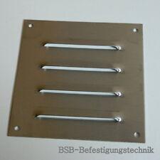 1 Stk. EDELSTAHL A2  Kiemenblech 150 x 150mm gebürstet Lüftungsgitter Gitter