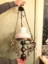 RARE Antique Bronze Hanging Chain Lamp BEAUTIFUL Ornaments