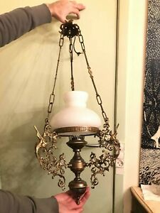 RARE Antique Bronze Hanging Chain Lamp BEAUTIFUL Ornaments