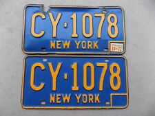 1966 - 1972 New York Pair of License Plates CY-1078 Orange on Blue DMV Clear YOM