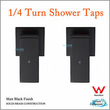 BLACK 1/4 Turn Twin Shower Taps HOT COLD Wall Set BATH BASIN Vanity Mixer SQUARE