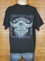 Sturgis Black Hills Rally 2008 Black Graphic T-Shirt Mens Size XL