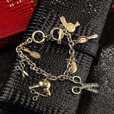 Retro Style Hot Rhinestone Hand Shear Hair Drier Scissors Comb Charm Bracelet