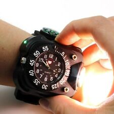 3in1 Compass Flashlight Torch Quartz LED Date Display Wrist Watch Outdoor Hiking
