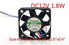 "SUNON Cooling Fan 4010 KDE1204PFVX 12V 1.8W 40mm x 40mm x 10mm 1.6""x1.6""x0.4"""