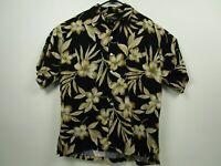 Mens Tori Richard L Black Floral S/S Button Front Hawaiian Camp Shirt USA Made
