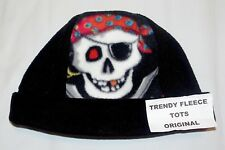 Child Beanie Hat PIRATE SKULL black red One Size FLEECE free post