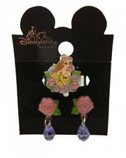DISNEY BELLE EARRING RING SET NEW TWO PIECE SET DESIGNER CARD AUTHENTIC Crystal