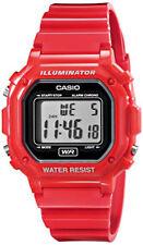 Casio Men's Quartz Illuminator Gray Dial Red Resin Band 43mm Watch F108WHC-4A