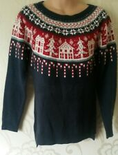 Next Navy Christmas Wool Blend Long Sleeve Jumper Size 8