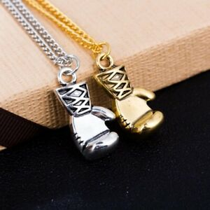 Gold Silver Plated Boxing Glove Sports Pendant Chain Necklace Mens Boys Gift