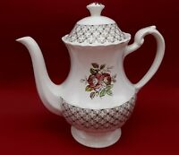 English Staffordshire Classic White Florentine Coffee Tea Pot
