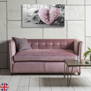 BLUSH PINK HEART CANVAS PICTURE  WALL ART 18 X 32 INCH MADE IN UK