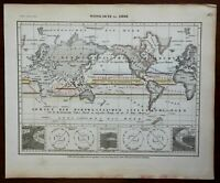 Winds of the Earth World Map Barometer Thermometer c.1850 Meyer map detailed