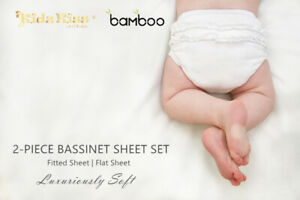 [3 Sets] Kidz Kiss Bamboo 2 Piece Bassinet Sheet Set - Luxuriously Soft