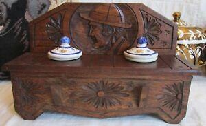 Vintage Black Forest Craved Wood Inkwell