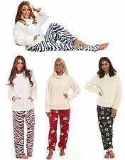 Ladies Fleece Hooded Pyjamas Cream Snowflake Animal Zebra Print Grey Red Black